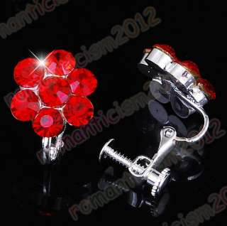 Free Red flower choker necklace earring set rhinestone