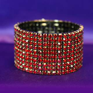10 Row Dark Red Rhinestone Choker Bracelet Set