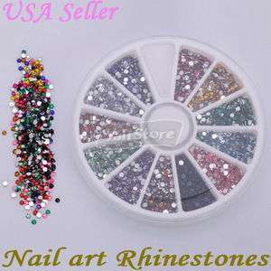 3000 Pcs 2.0mm Round Shape Nail Art Rhinestones Glitters Wheel