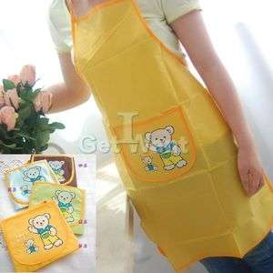 Cartoon Bear Design Home Kitchen Wookling Chef Clothes Apron Oil Water