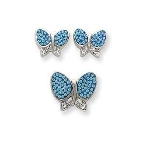 Silver Blue Crystal Butterfly Earrings and Pendant Set Jewelry