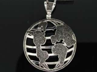 MENS WHITE GOLD FINISH BLACK DIAMOND GLOBE MAP CHARM