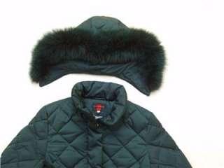 Womens Gallery Down Real Fox Fur Trim M Pea Coat Hoodie Quilt Jacket