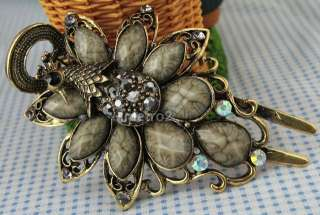 Swarovski crystals grey gem peacock peafowl bird bronze hair clip