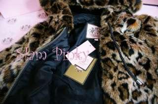SALE~ JUICY COUTURE BLACK LEOPARD CHEETAH FAUX FUR COAT NWT