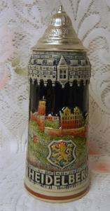 Vintage German Lidded Beer Stein Mug 1000 Edition Heidelberg KING