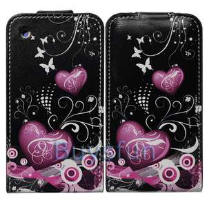 Heart Flip Leather Cover Case Skin for Apple iPhone 3G 3GS