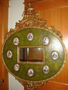 Antique French painted wood mirror frame porcelain art 18th 19th