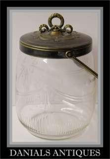 Antique Art Nouveau cut glass biscuit jar.1900s