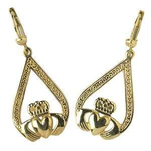 Engraved Claddagh Pear   10k Yellow Gold Earrings Jewelry
