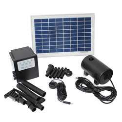 Solar Powered 8 watt 18 volt Water Pump with Battery and Timer