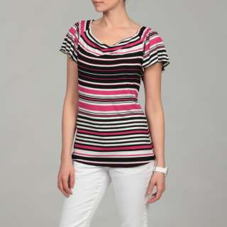 Cable & Gauge Womens Pink/ White/ Black Stripe Top