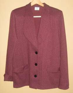Ladies Sz S/P Burgundy Suit WEEKENDERS Herringbone Knit 2 Belts MINT