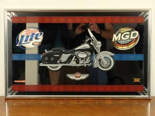 HARLEY DAVIDSON 2003 100th ANNIVERSARY BAR MIRROR MILLER BEER 31 x