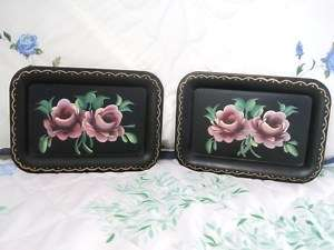 Vintage Hand Painted Country Pink Tole Roses Vanity Dresser Toleware