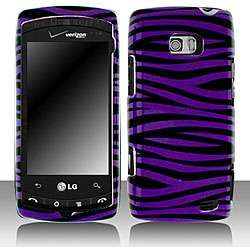 LG Ally VS740 Black and Purple Zebra Snap on Protective Case