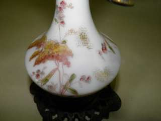 ANTIQUE VICTORIAN HAND PAINTED MILK GLASS OIL LAMP