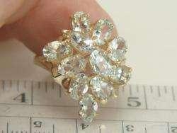 10K Yellow Gold 4.40ct Aquamarine Cluster Ring