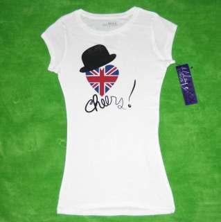 New Miley Cyrus Max Azria UK Flag Heart Cheers T Shirt Tee Junior Size