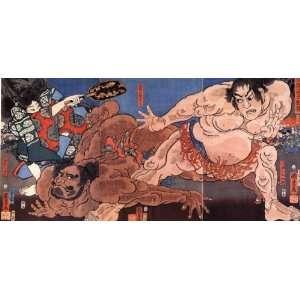 Keyring Japanese Art Utagawa Kuniyoshi Wrestling