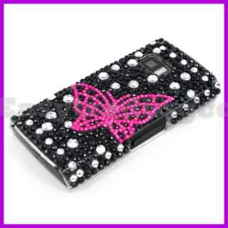 Crystal Bling Back Case Cover Nokia X6 Pink Butterfly