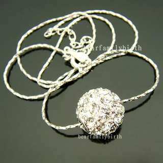 18K White gold Gp Swarovski Crystal ball necklace 427