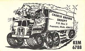 CB radio QSL postcard Rat Fink style comic big rig 1970s Fremont MI