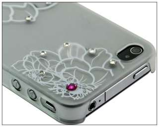 Bling Rhinestone Blossom Matte Clear Crystal Hard Case Cover f iPhone