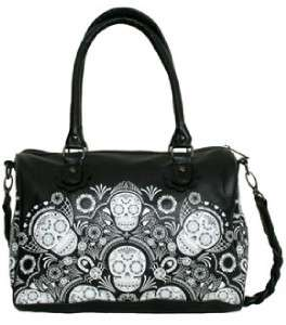 Loungefly Sugar Skull Satchel Handbag Purse Black NEW