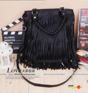 Fashion Vintage Tassel Handbag Crossbody Shoulder Bag Black New #655