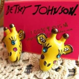 Fashion Cute Yellow Giraffe Stud Rhinestone Earring Jewelry Gift FREE