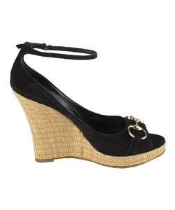Gucci Black Suede Peep Toe Wedge Shoes