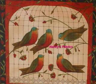 Bird Song Cotton Fabric Block Panel Moda Fabrics