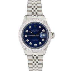 Womens Datejust White Gold Blue Diamond Dial Watch