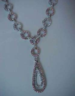 Micro Pave Pink & White cz Circle Links Rose Gold ep NECKLACE