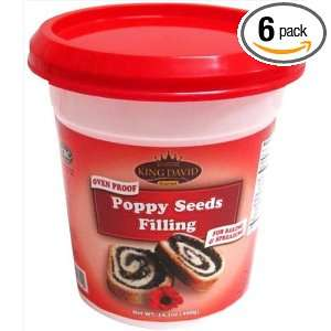 King David Oven Proof Poppy Seeds Kosher Filling (Pack of 6)