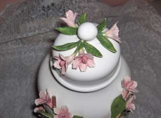 Capodimonte Porcelain Ginger Jar With Lid Vines Pink Flowers Italy