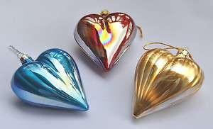 Set of Three J&V Blown Glass Heart Christmas Tree Ornaments