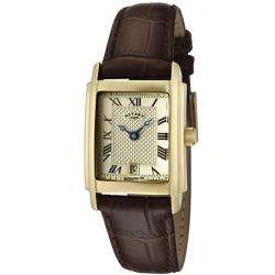 Rotary Womens Champagne Textured Dial Brown Leather Watch