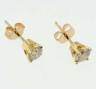 84 CARAT ROUND BRILLIANT DIAMOND STUD EARRING PAIR 14K YELLOW GOLD