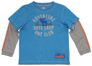 Toddler Boys Blue Adventure Camp Long Sleeve Graphic Tee   J. Khaki 2T