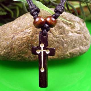 Nice Tibet Yak Bone Carved Cross Necklace Pendant Free