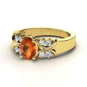 Gabrielle Ring, Oval Fire Opal 14K Yellow Gold Ring with