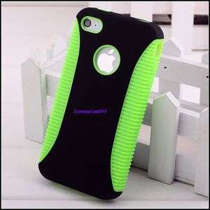Rubber Skin Soft Gel / Black Hard Case Cover for iPhone 4 4G A9
