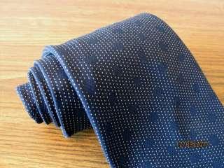 New GIORGIO ARMANI Black Label Silk Tie, Navy Blue White Polka Dots