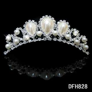 Wedding Bridal crystal PEARL veil tiara crown comb 0828
