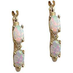 10k Yellow Gold Oval cut Opal and Diamond Hoop Earrings