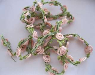 Antique French Pink Rosette/Roses Ombre Flapper Era Ribbon Millinery