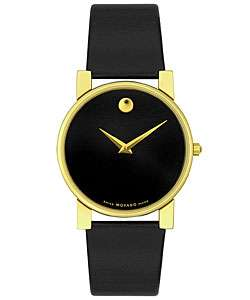 Movado Mens Moderna Black Leather Strap Watch