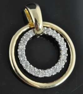 Estate Vtg 14K Gold Diamond Pave Circle Slide Pendant